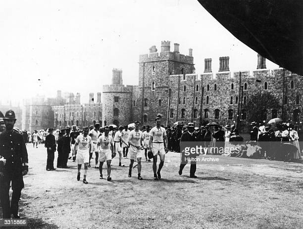 Competitors in the Marathon at the 1908 London Olympics enter Windsor Castle for the start of the race