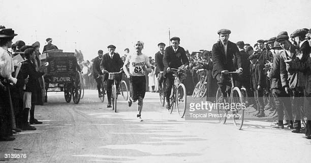 Labry of France in second position at Harrow in the 1908 Olympic marathon in London