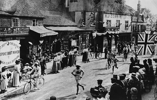 The Marathon event at the 1908 London Olympics, competitors...