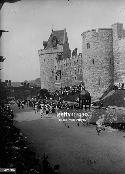 The start of the Marathon at Windsor Castle at the Olympic Games in 1908 which finished at the Olympic stadium in Shepherds Bush London