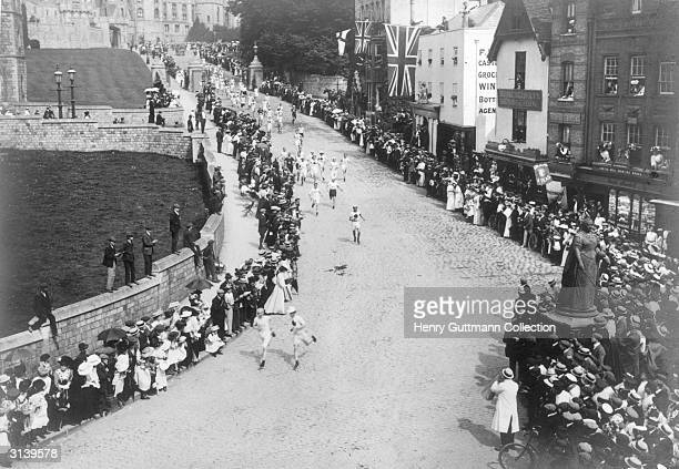 The start of the Marathon at Windsor Castle during the Olympic Games, the race finished at the Olympic stadium in Shepherds Bush, London.