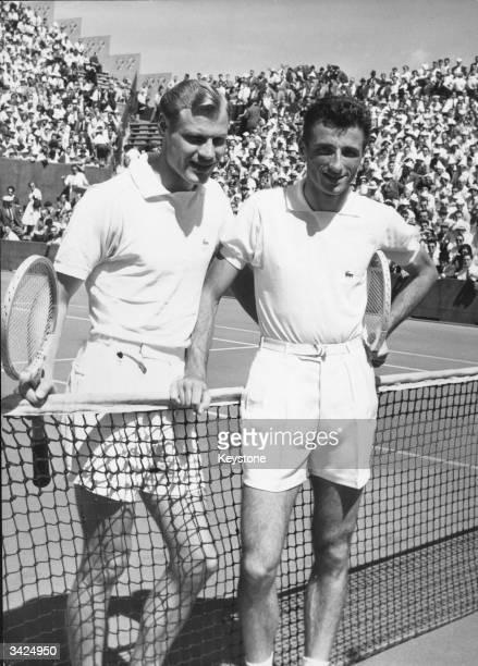 Robert Haillet of France and Lennart Bergelin of Sweden before their Davis Cup match at the Roland Garros Stadium Paris
