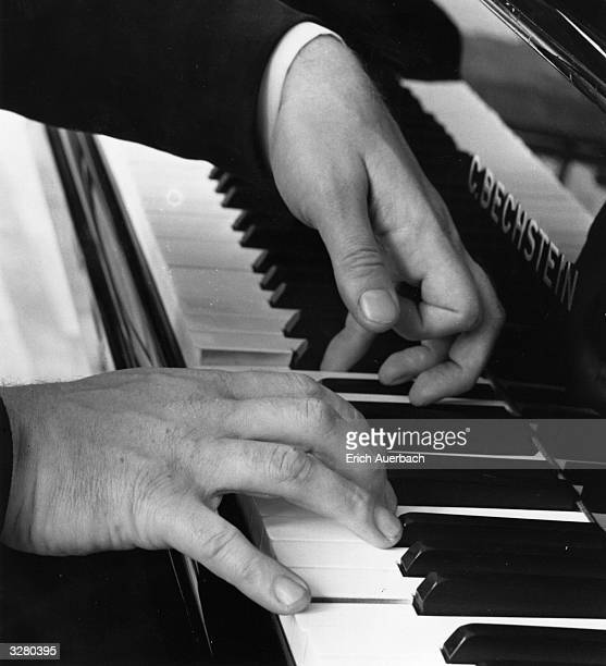 A closeup of the hands of the pianist Sviatoslav Richter