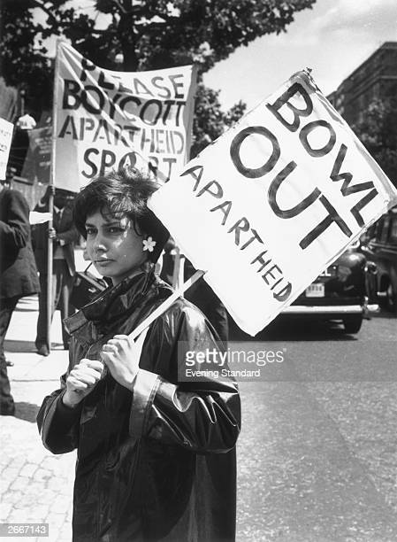 An anti-apartheid campaigner demonstrating outside Lord's cricket ground.