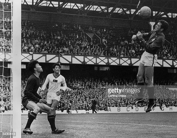 Portuguese footballer Juan Augusto scoring the final goal in Portugal's 53 win over North Korea at Goodison Park Liverpool during the World Cup The...
