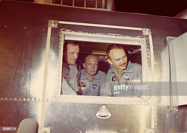 From left to right, Neil Armstrong, Edwin 'Buzz' Aldrin Jnr and Michael Collins, the crew of the historic Apollo 11 moon landing mission are...