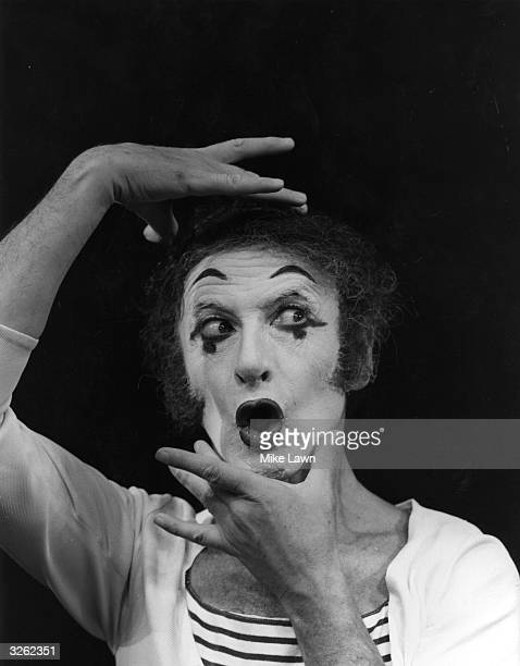 French mime artist Marcel Marceau, born in Strasbourg. He is as his white-faced character Bip, on stage at Sadler's Wells Theatre, London, where he...