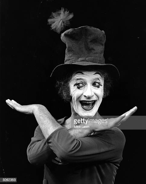 French mime artist Marcel Marceau on stage at Sadler's Wells Theatre in London.