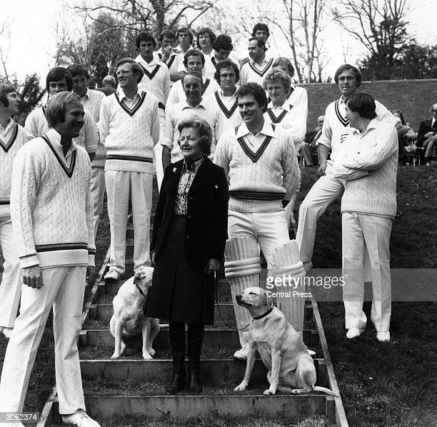 Lavinia the Duchess of Norfolk and dogs with the two captains and members of the two teams when the Australians met her team under the captaincy of...
