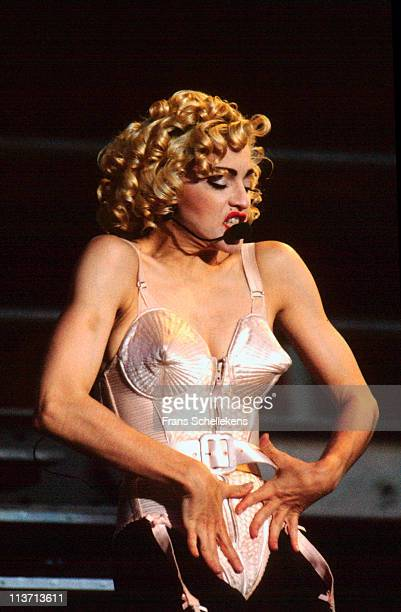 24th JULY: singer Madonna performs live on stage at Feyenoord stadium in Rotterdam, Netherlands on 24th July 1990.