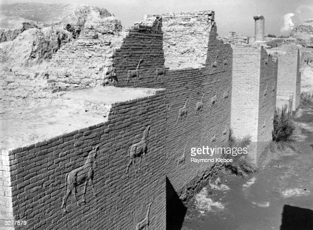 Wall carvings in the ruins of Babylon Original Publication The Ishtar Gate and hanging towers of Babylon Original Publication Picture Post 5071 War...