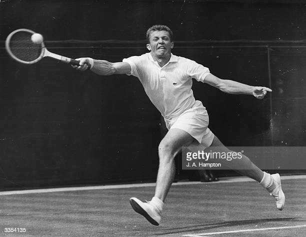 American tennis player Tony Trabert in action during his fourth day match against Britain's R K Wilson on the Centre Court at Wimbledon Trabert won...