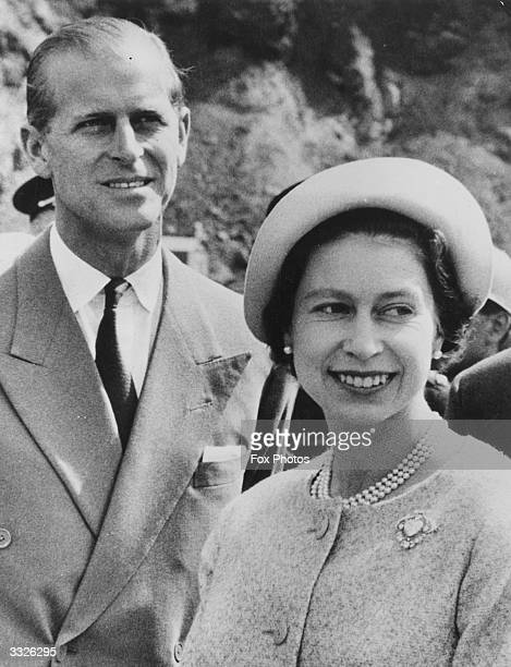 Queen Elizabeth II with her husband Prince Philip the Duke of Edinburgh visiting an open pit mine at Knob Lakes during their royal tour of Canada