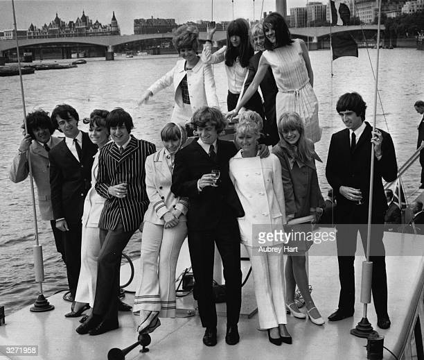 British pop groups Unit 4 Plus 2 and the Gojos with singer Marianne Faithfull front row and celebrity friends back row from left to right pop singer...