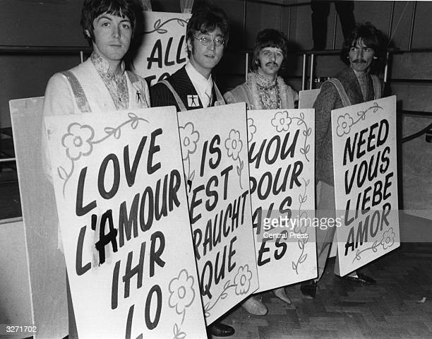 The Beatles from left to right Paul McCartney John Lennon Ringo Starr and George Harrison rehearse for 'Our World' the BBC's contribution to a...