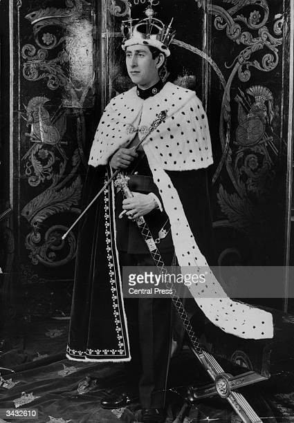 Prince Charles, eldest son of Queen Elizabeth II and the Duke of Edinburgh, in the coronet, mantle and regalia which he will wear at his investiture...