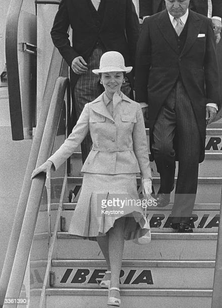 Argentinian acting president Isabel de Peron arriving in Madrid to attend to President Juan Peron during a period of illness