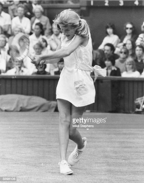 Fourteenyearold American tennis player Tracy Austin in action during a match against champion Chris Evert at Wimbledon