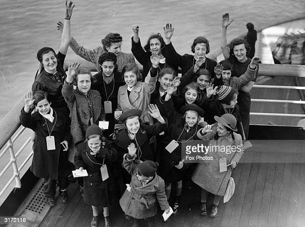 A group of children arrive at Southampton on board the US liner 'Manhattan' only a few of the 250 GermanJewish refugees on board the vessel They all...