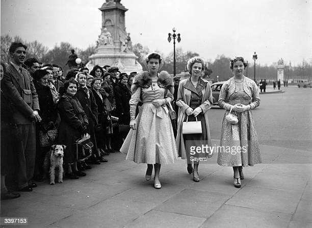 Debutantes arriving at Buckingham Palace for a Presentation Party hosted by Queen Elizabeth The Queen Mother on behalf of Queen Elizabeth II