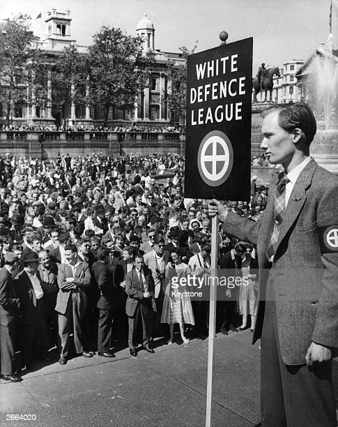 Members of the White Defence League preach violence and hatred towards black immigrants at Trafalgar Square London