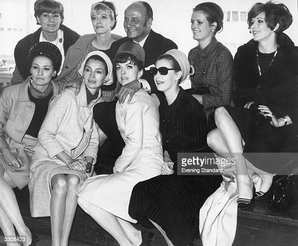 Fashion designer Pierre Balmain with his models at London Airport