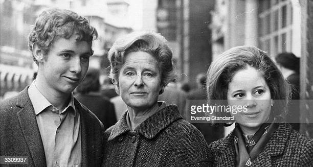 Caitlin Thomas widow of poet Dylan Thomas stands with her son Colm and daughter Aeronwy outside the court during her lawsuit to retrieve letters...
