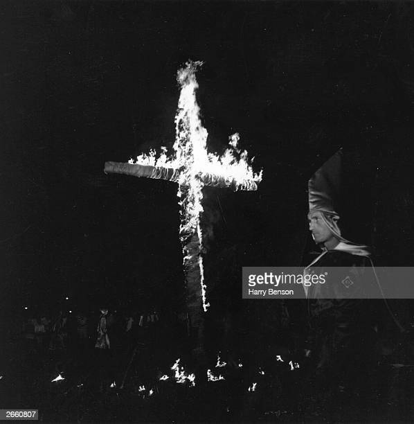 Members of the American white supremacist movement the Ku Klux Klan at a meeting in Beaufort South Carolina