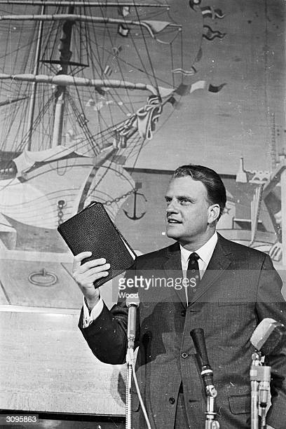 American evangelist Billy Graham upon his arrival in Southampton