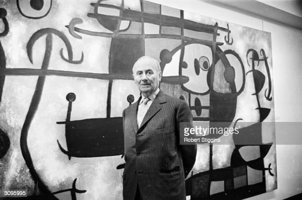 Spanish Surrealist painter Joan Miro at the Marlborough Fine Art Gallery for his one man show