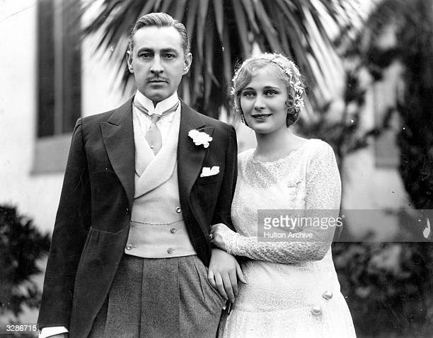 American actor John Barrymore with his first wife Dolores Costello on their wedding day