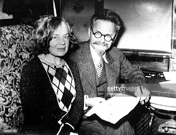 24th November 1932 Russian revolutionary and exiled Bolshevik Leon Trotsky pictured whilst in exile with his wife in Denmark