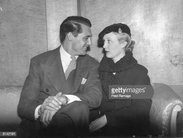 American film star and society girl Virginia Cherrill with her fiance Cary Grant at the Savoy Hotel in London