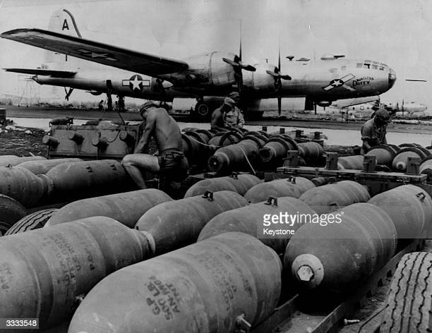 'Dauntless Dottie' one of America's B29 Superfortress bombers is made ready for a bombing run on Tokyo Here on Saipan Island in the Mariana Islands...