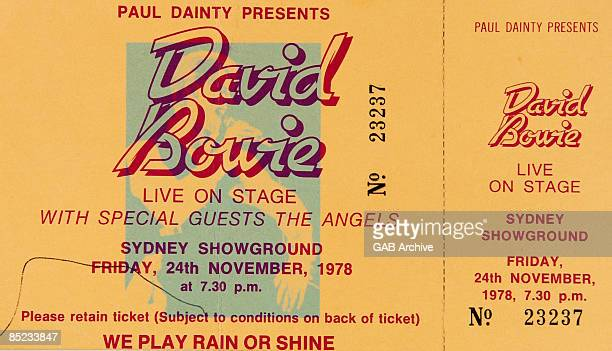 Photo of ticket for David Bowie's concert at Sydney Showground on 24th November 1978