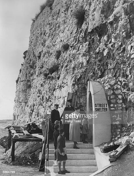 People at the entrance to the large air raid shelter currently under construction in a cliff at Ramsgate. It stretches to 90 feet below the ground.