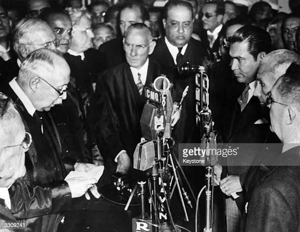 Constitutionally elected Cuban dictator Fulgencio Batista Y Zaldivar takes his oath of office in Havana