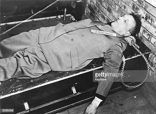 German politician and journalist Arthur Seyss-Inquart , following his execution as a war criminal for his role in Hitler's government. He had acted...