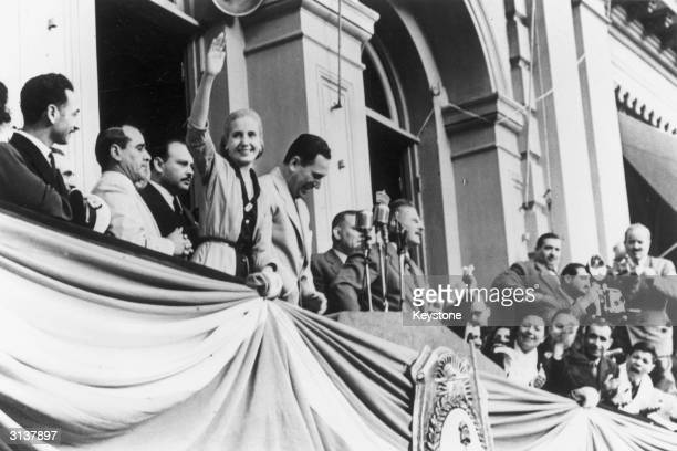 Eva Duarte De Peron waving to the crowds on the occasion of the 4th anniversary of her husband's government Her husband President Juan Domingo Peron...