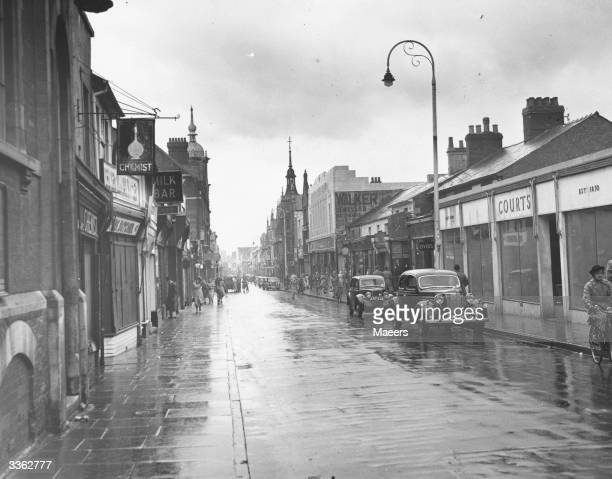 Regent Street on a rainy day in Swindon Wiltshire