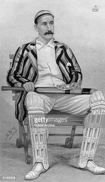 Captain of Yorkshire County Cricket team, Lord Hawke in cricketing gear and holding a cricket bat. He became President of the MCC when his playing...