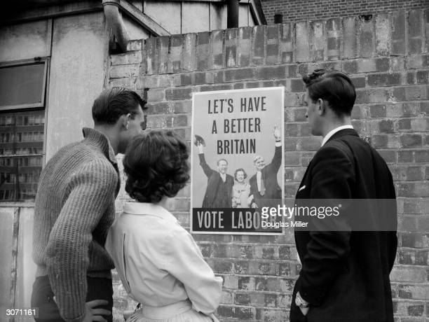 One of the posters issued by the British Labour Party depicting leader of the party Hugh Gaitskell arm in arm with Barbara Castle and Aneurin Bevan