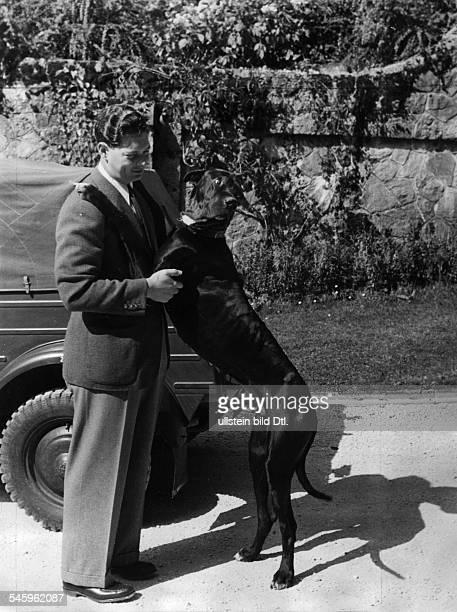 *König von Rumänien 19271930sowie 19401947mit seinem Hund eiiner Dogge 1943