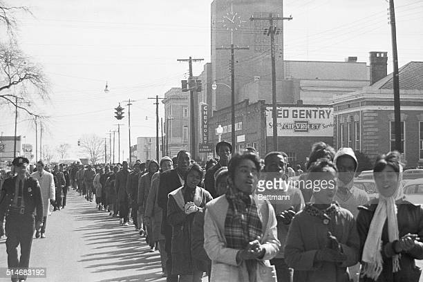 """Alabama State troopers """"frisk"""" Negro youths arrested during demonstrations here 2/4 prior to boarding them on buses. More than 130 were arrested. UPI..."""
