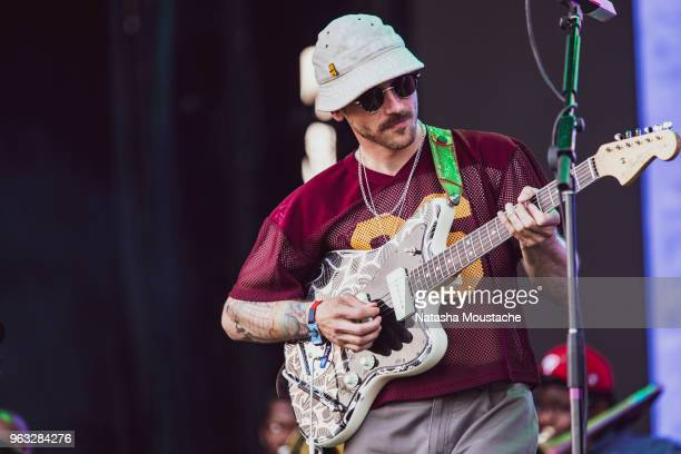 John Gourley of Portugal TheMan performs onstage at Harvard Athletic Complex on May 25 2018 in Boston Massachusetts