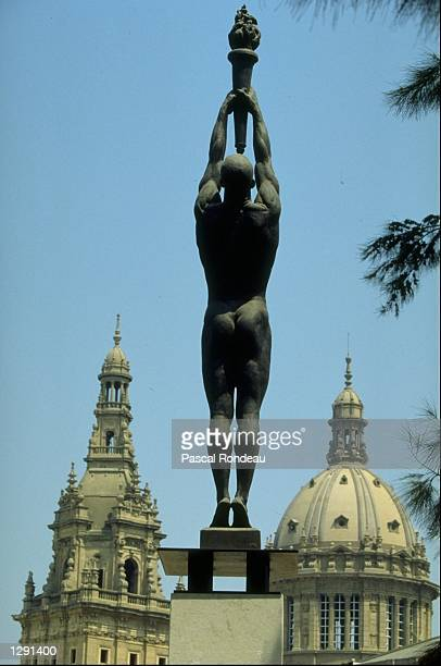 General view of the Palais Montjuic with a bronze of an athlete holding a torch during the 1992 Olympic Games in Barcelona Spain Mandatory Credit...
