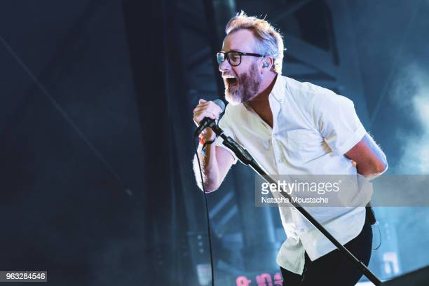 Matt Berninger of The National performs onstage at Harvard Athletic Complex on May 26 2018 in Boston Massachusetts