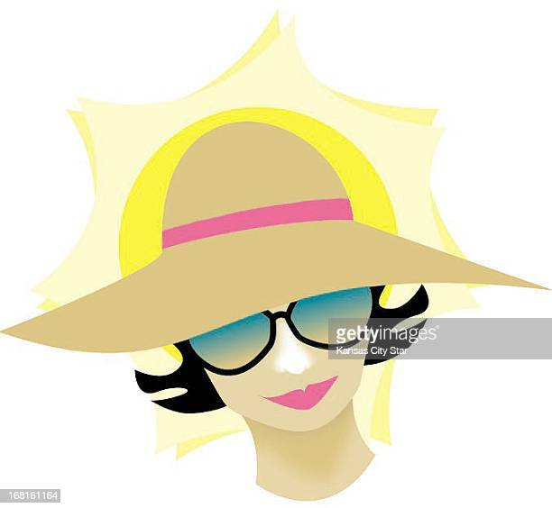 25p x 23p Sue Spade color illustration of woman wearing sunglasses and hat sun is beating down behind her