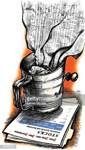 25p x 44p L Eric Craven color illustration of raw stock market data in the form of a stock listing page being passed through a flour sifter and...