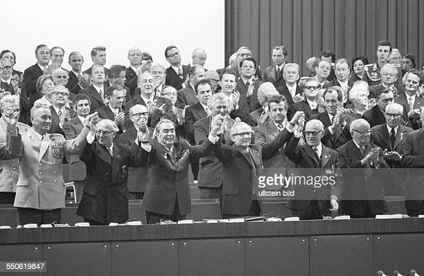 25th anniversary of the GDR ceremonial act at the Werner Seelenbinder Halle in East Berlin in the center Erich Honecker General Secretary of the...
